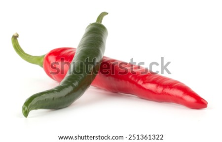 Red and green hot chili peppers isolated on white background, closeup - stock photo
