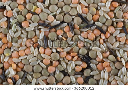 Red and green lentils with brown and wild rice, food background. - stock photo