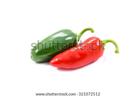 Red and green ripe jalapeno chili hot pepper from caribbean or mexico isolated on white background - stock photo
