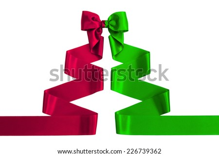 Red and Green satin ribbon with bow shaped as a Christmas tree, isolated on white background - stock photo