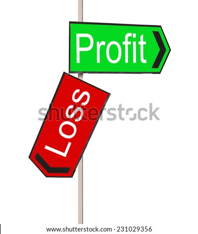 Red and Green street signs with words Profit and Loss on white background
