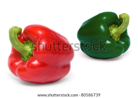 red and green sweet peppers isolated on white background - stock photo