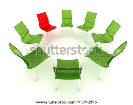 red and green transparent chairs in a circle - stock photo