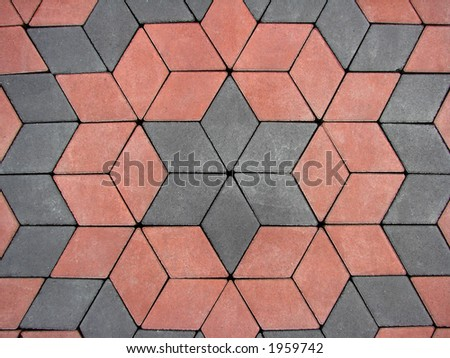 red and grey block paving background - stock photo