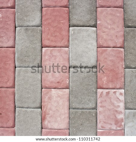 Red and grey brick floor. - stock photo