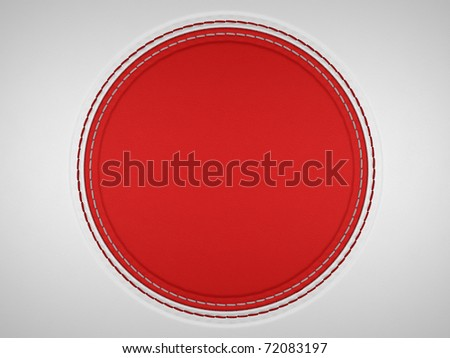 Red and grey stitched circle shape on leather background. Large resolution - stock photo