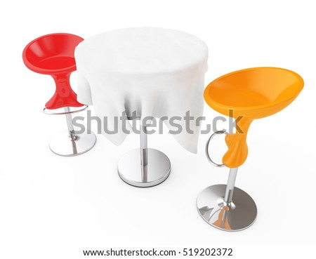 Red and Orange Bar Modern Stools with Table covered Tablecloth on a white background. 3d  sc 1 st  Shutterstock & Round Stool Stock Images Royalty-Free Images u0026 Vectors | Shutterstock islam-shia.org