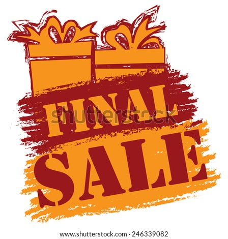 Red and Orange Final Sale Banner, Sticker, Icon or Label Isolated on White Background  - stock photo