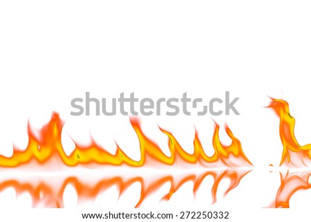 Red and orange fire flames isolated on white background - stock photo