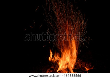 Red Orange Spurts Flames Charcoal Fire Stock Photo 327031244 ...