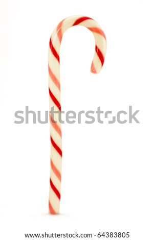 red and pink striped candy cane isolated over white - stock photo