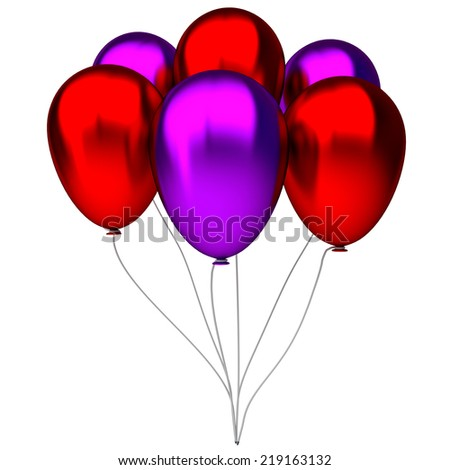 red and purple birthday balloons isolated on white background - stock photo