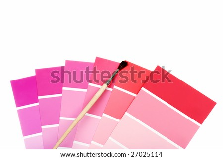 red and purple color chips with paint brush - stock photo