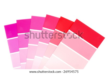 red and purple color paint chips - stock photo