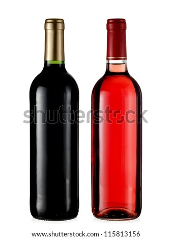Red and rose wine bottles - stock photo