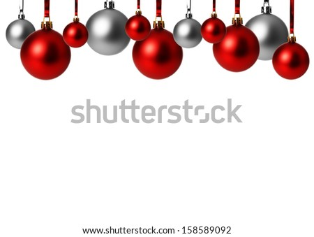 red and silver christmas balls isolated  - stock photo