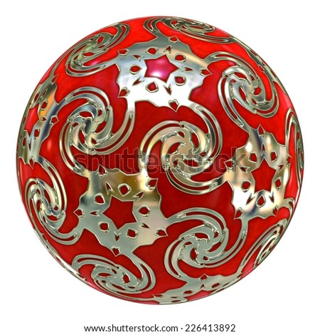 Red and Silver Crystal Ball / Ornament - stock photo
