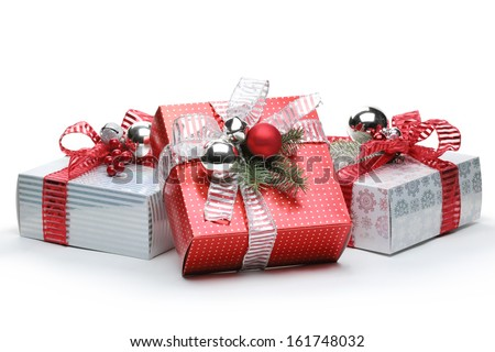 Red and silver gift box on white background - stock photo