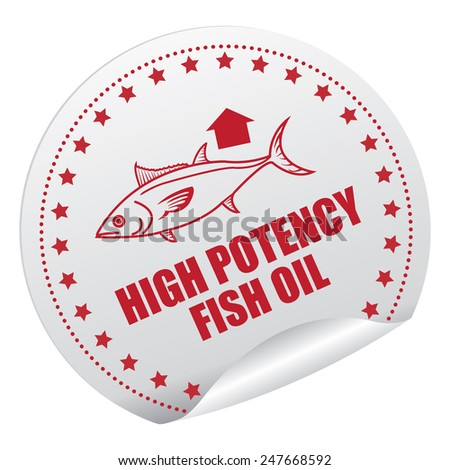 Red and Silver High Potency Fish Oil Sticker, Icon, Badge, Sign or Label Isolated on White Background  - stock photo