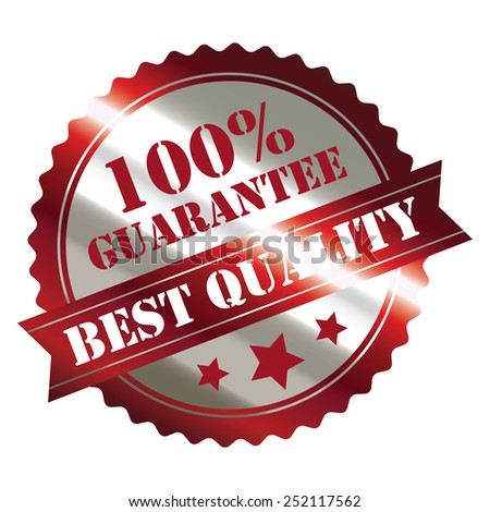 red and silver metallic best quality 100% guarantee sticker, sign, stamp, icon, label isolated on white - stock photo