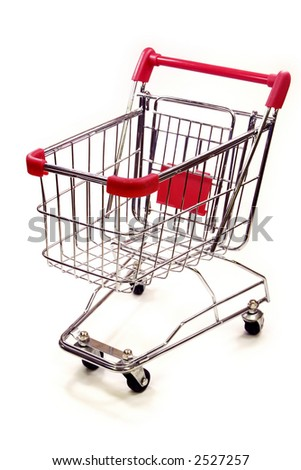 red and silver shopping trolley on white background