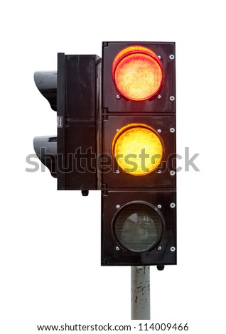 red and the yellow signal of the traffic light in isolation - stock photo