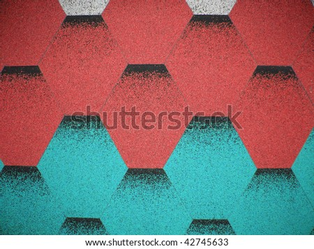 red and turquoise roof (tile) - stock photo