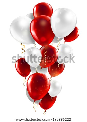 red and white balloons on a white background - stock photo