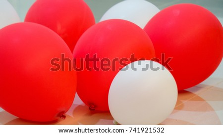 Red White Balloons Were On White Stock Photo Royalty Free