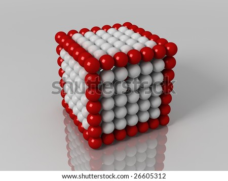 Red and white balls cube