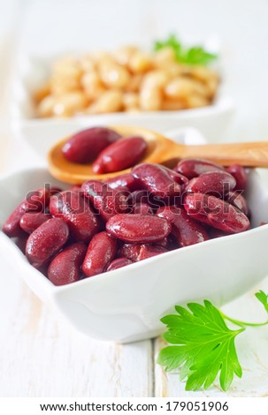 red and white beans - stock photo