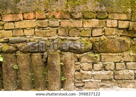 Red and white brick wall. Background texture.