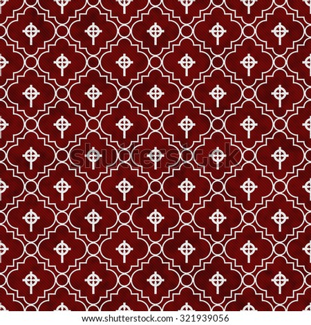 Red and White Celtic Cross Symbol Tile Pattern Repeat Background that is seamless and repeats - stock photo