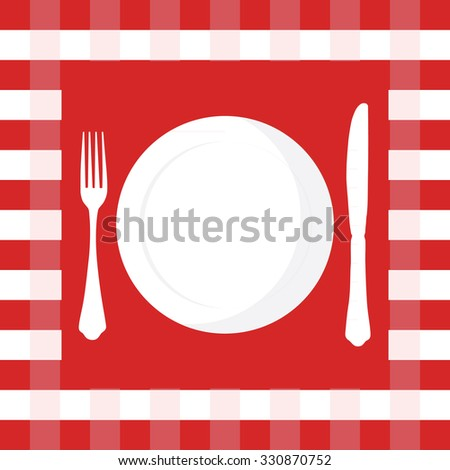 Red and white checkered tablecloth with fork, knife and plate raster illustration. Picnic table cloth