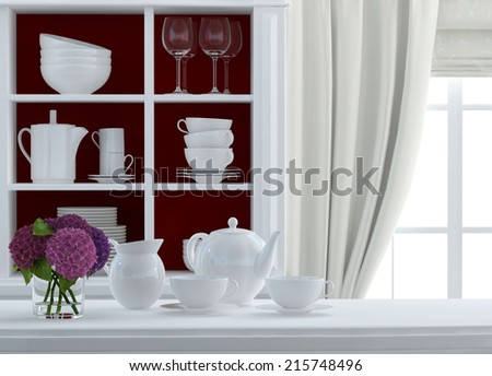 red and white composition - stock photo