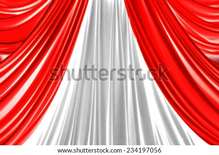 red and white curtain on stage for luxuary background - stock photo