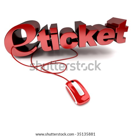 Red and white 3D illustration of the word e-ticket connected to a computer mouse - stock photo