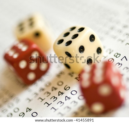Red and white dice only with 6 - stock photo