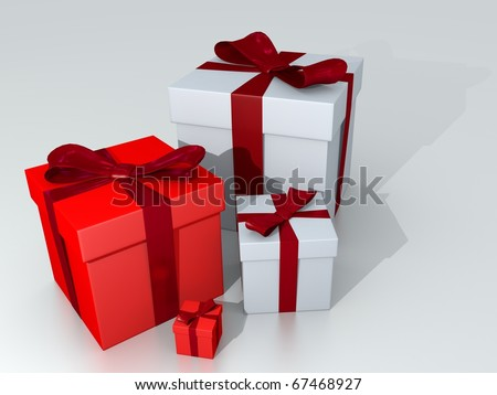 Red and White Gift boxes on White Background