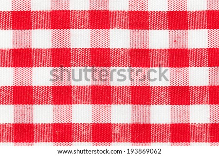 Red and white gingham tablecloth pattern - stock photo