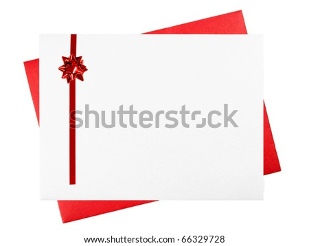 Red and white greeting card envelopes with red bow and room for text - stock photo