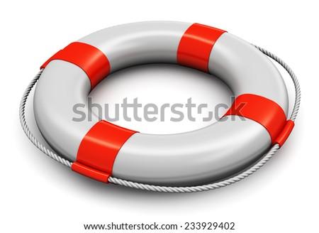 Red and white lifesaver belt isolated on white background - stock photo