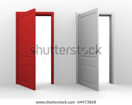 Red and white opened doors - stock photo
