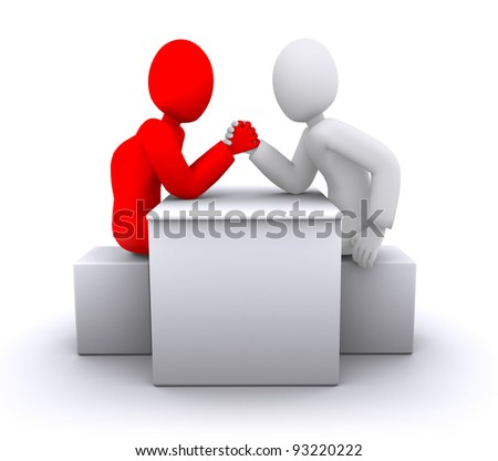 Red and white people arm wrestling, business competition - stock photo
