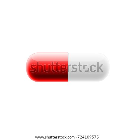 red white pill on isolated white stock illustration 724109575