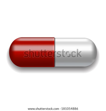 Red and white pill on white background. - stock photo