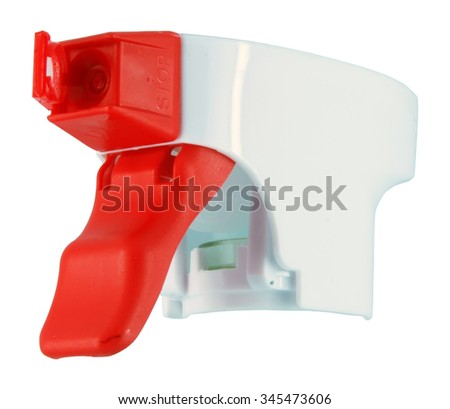 Red and white plastic sprayer. Watering spray. - stock photo