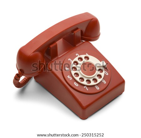 Red and White Rotary Phone Isolated on White Background. - stock photo