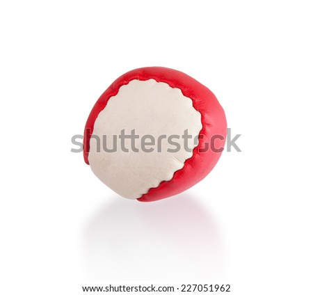 Red and white stress ball isolated on white - stock photo