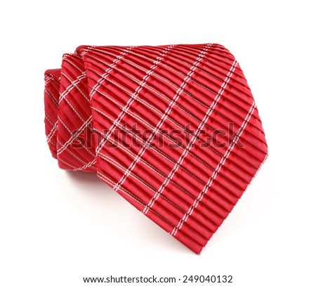 Red and white striped tie isolated on white background